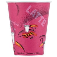 Solo 378SI-0041 Bistro Print 8 oz. Poly Paper Hot Cup - 1000/Case