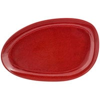 Front of the House SPT056RDP20 Kiln 14 inch x 9 inch Chili Porcelain Oval Plate - 2/Pack