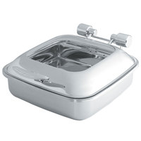 Vollrath 46134 6 Qt. Intrigue Square Induction Chafer with Glass Top and Stainless Steel Food Pan