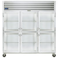 Traulsen G32000-032 76 1/4 inch G Series Glass Half Door Reach-In Refrigerator with Left / Right / Right Hinged Doors