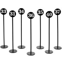 American Metalcraft NSB40 Black Stamped Out Number Table Stand Set - Numbers 31-40