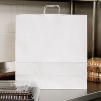Jumbo 18 inch x 7 inch x 19 inch White Paper Shopping Bag with Handles - 200/Bundle