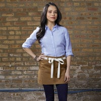 Uncommon Threads 3103 Caramel Customizable 100% Cotton Beltway Waist Apron with Natural Webbing and 3 Pockets - 14 inchL x 30 inchW