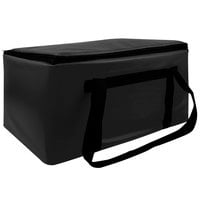 Sterno Black Customizable Space Saver Catering XL Insulated Food Carrier, 16 inch x 24 inch x 17 3/4 inch - Holds 4 Full Size Food Pans