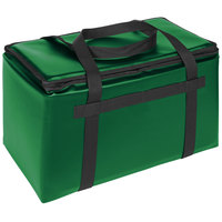 Sterno Customizable Kelly Green Space Saver Delivery 3XL Insulated Food Carrier, 22 inch x 13 inch x 14 inch - Holds (8) 9 inch x 9 inch x 3 inch Meal Containers