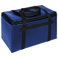 Sterno Customizable Royal Blue Space Saver Delivery 3XL Insulated Food Carrier, 22 inch x 13 inch x 14 inch - Holds (8) 9 inch x 9 inch x 3 inch Meal Containers