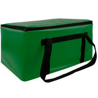 Sterno Kelly Green Customizable Space Saver Catering Large Insulated Food Carrier, 16 inch x 24 inch x 14 inch - Holds 3 Full Size or 6 Half Size Food Pans