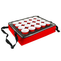 Sterno Red Customizable Stadium Insulated Drink Holder / Carrier, 24 inch x 20 inch x 6 inch - Holds 20 Cups