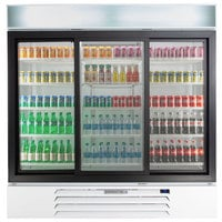 Beverage-Air MMR66HC-1-WS MarketMax 75 inch White Glass Sliding Door Merchandiser Refrigerator with Stainless Steel Interior
