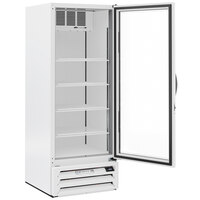 Beverage-Air MMF12HC-1-WB-18 MarketMax 24 inch White Glass Door Merchandising Freezer with Left-Hinged Door and Black Interior