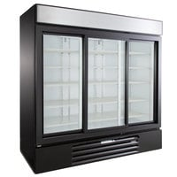 Beverage-Air MMR66HC-1-BS MarketMax 75 inch Black Glass Sliding Door Merchandiser Refrigerator with Stainless Steel Interior