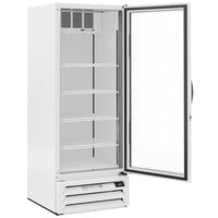 Beverage-Air MMF27HC-1-WS-18 MarketMax 30 inch White Glass Door Merchandising Freezer with Left-Hinged Door and Stainless Steel Interior