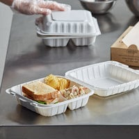 Dart 85MFPPHT3 ProPlanet 8 5/16 inch x 8 inch x 3 inch White Mineral-Filled 3 Compartment Hinged Lid Takeout Container - 150/Case