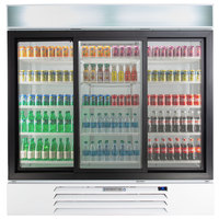 Beverage-Air MMR66HC-1-WB MarketMax 75 inch White Glass Sliding Door Merchandiser Refrigerator with Black Interior