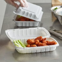 Dart 206MFPPHT1 ProPlanet 9 inch x 6 1/2 inch x 2 13/16 inch White Mineral-Filled 1 Compartment Hinged Lid Takeout Container - 200/Case