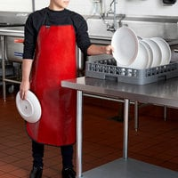 San Jamar EZKAPR Red 20 Mil EZ-Kleen Cleaning / Dishwashing Apron - 36 inchL x 25 1/2 inchW