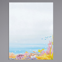 8 1/2 inch x 11 inch Menu Paper - Seafood Themed Ocean Design Right Insert - 100/Pack