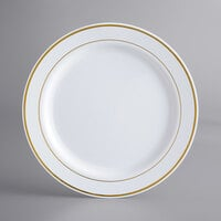 Gold Visions 10 inch White Plastic Plate with Gold Bands - 120/Case