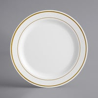 Gold Visions 9 inch White Plastic Plate with Gold Bands - 120/Case