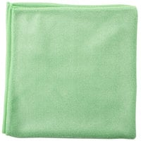 Unger MF400 SmartColor MicroWipe 16 inch x 15 inch Green Heavy-Duty Microfiber Cleaning Cloth   - 10/Pack