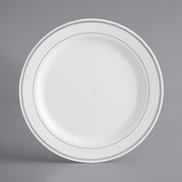 Silver Visions 9 inch White Plastic Plate with Silver Bands - 120/Case