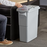 Rubbermaid FG9W2500LGRAY Slim Jim® 16 Gallon Light Gray Rectangular Trash Can with Confidential Document Lid