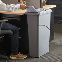 Rubbermaid FG9W1500LGRAY Slim Jim® 23 Gallon Light Gray Rectangular Trash Can with Confidential Document Lid