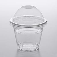 Choice 9 oz. Clear Plastic Squat Cold Cup with 4 oz. Insert and PET Dome Lid with No Hole - 100/Pack