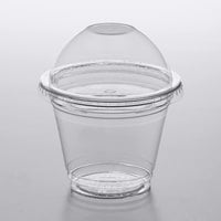 Choice 9 oz. Clear Plastic Squat Cold Cup with 2 oz. Insert and PET Dome Lid with No Hole   - 100/Pack