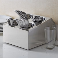 Choice Four Hole Stainless Steel Flatware Organizer with Perforated Stainless Steel Cylinders