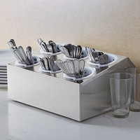 Choice Six Hole Stainless Steel Flatware Organizer with Perforated Plastic Cylinders