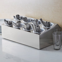 Choice Eight Hole Stainless Steel Flatware Organizer with Perforated Plastic Cylinders