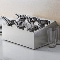 Choice Six Hole Stainless Steel Flatware Organizer with Perforated Stainless Steel Cylinders
