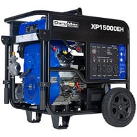 DuroMax XP15000EH Portable 713 CC Dual Fuel Powered Generator with Twin Engine, Electric / Recoil Start, and Wheel Kit - 15,000/12,000W, 120V