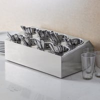 Choice Eight Hole Stainless Steel Flatware Organizer with Perforated Stainless Steel Cylinders
