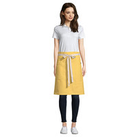 Uncommon Threads 3117 Egg Customizable 100% Cotton Canvas Moxie Waist Apron with Natural Webbing and 3 Pockets - 24 inchL x 34 inchW