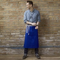 Uncommon Threads 3119 Deep Royal Customizable 100% Cotton Canvas Marvel Bistro Apron with Natural Webbing and 1 Pocket - 33 inchL x 31 inchW