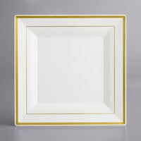 Gold Visions 10 inch Square Bone / Ivory Plastic Plate with Gold Bands - 12/Pack
