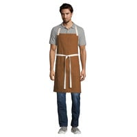 "Uncommon Threads 3115 Walnut Customizable 100% Cotton Canvas Vibe Bib Apron with Natural Webbing and 3 Pockets - 34""L x 36""W"