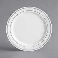 Silver Visions 6 inch White Plastic Plate with Silver Bands - 15/Pack
