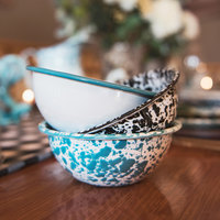 Crow Canyon Home V17TUR Vintage 20 oz. White Round Enamelware Bowl with Turquoise Rolled Rim