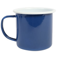 Crow Canyon Home S11MBU Pacifica 12 oz. Two Tone Medium Blue and White Enamelware Mug