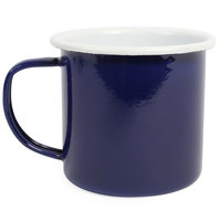 Crow Canyon Home S11BLU Pacifica 12 oz. Two Tone Dark Blue and White Enamelware Mug