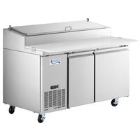 Avantco SSPPT-260 60 inch 2 Door Refrigerated Pizza Prep Table