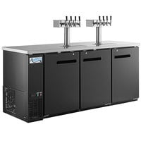 Avantco Black Kegerator / Beer Dispenser with 2 Quadruple Tap Towers (4) 1/2 Keg Capacity