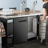Avantco Black Kegerator / Beer Dispenser with 2 Triple Tap Towers - (4) 1/2 Keg Capacity