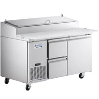 Avantco SSPPT-260D 60 inch 1 Door Refrigerated Pizza Prep Table with 2 Drawers