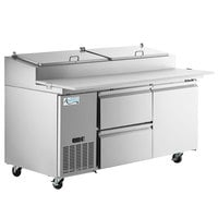 Avantco SSPPT-2D 67 inch 1 Door Refrigerated Pizza Prep Table with 2 Drawers