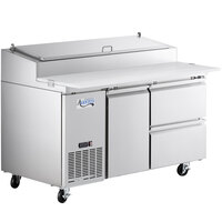 Avantco SSPPT-260B 60 inch 1 Door Refrigerated Pizza Prep Table with Drawer