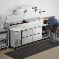 Avantco SSPPT-3K 93 inch 1 Door Refrigerated Pizza Prep Table with 4 Drawers